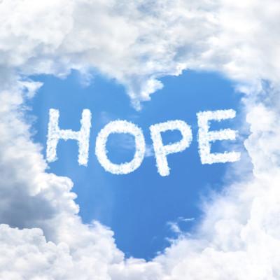 sky cloud hope concept word inside heart shape